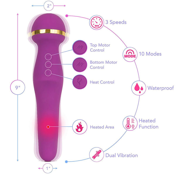 LuLu 10 Heated & Dual Sided Wand Massager - 3 Speeds & 10 Vibration Modes