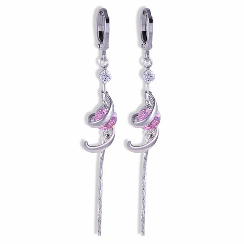 Designer Earring Silver Color Crystal CZ Long Tassels Dangle Earrings
