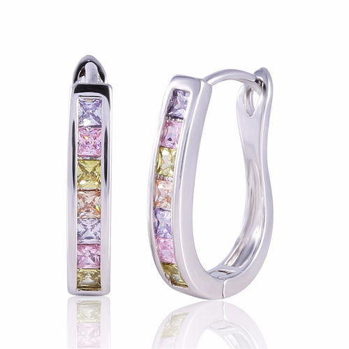 Rhinestone Hoop CZ Earrings