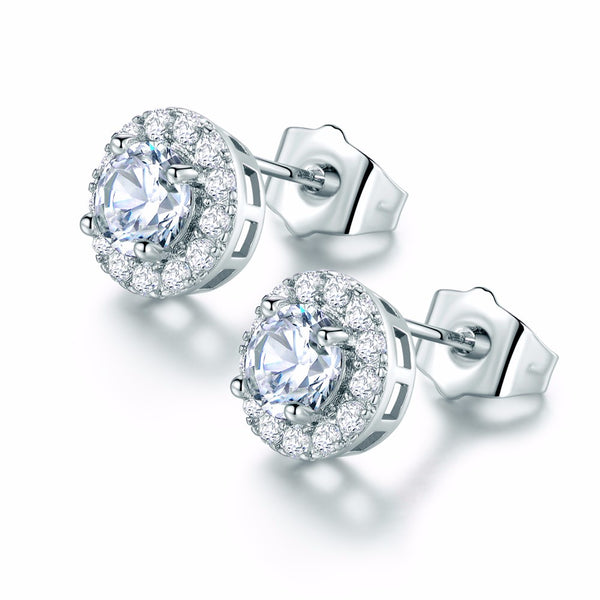 Circle Diamond CZ Round Crystals Stud Earrings