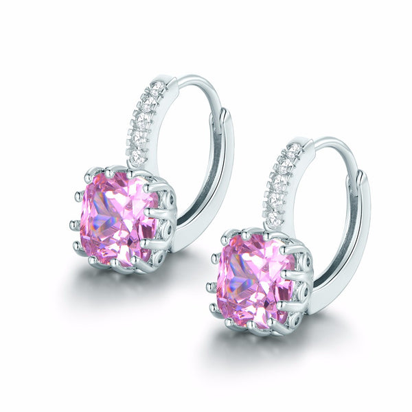 Diamond Hoop Cubic Zirconia Earrings