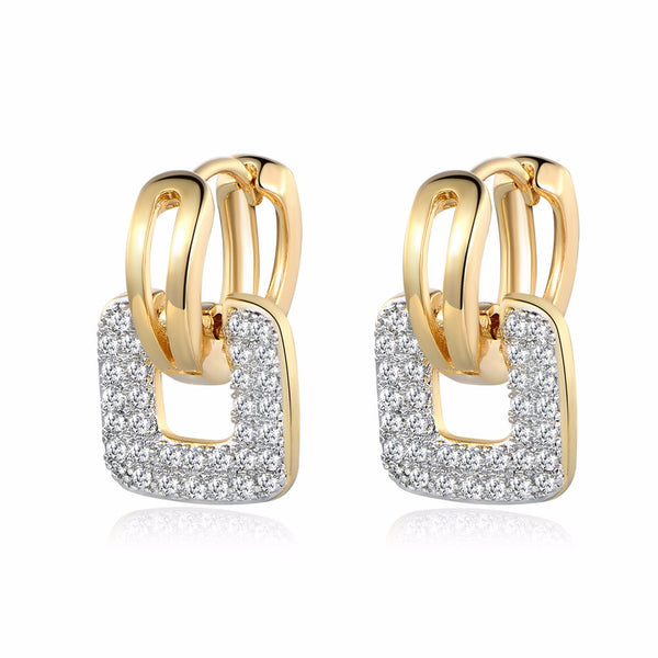 Cluster Paved Zirconia Crystal Stone Earring Jewelry