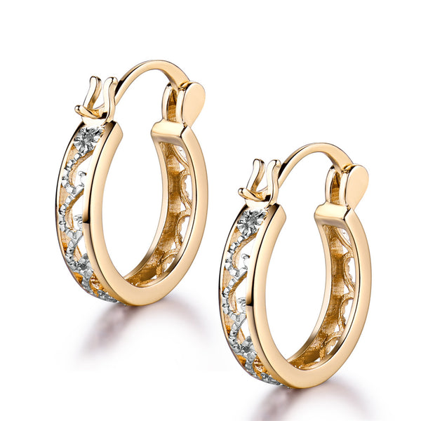 Classic Hollow CZ Out Hoop Earrings