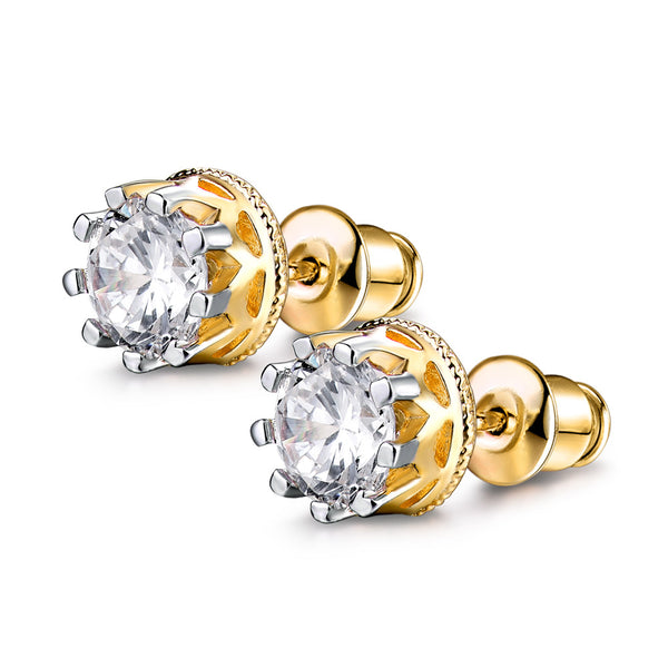 Crown Stud Cubic Zirconia Earrings