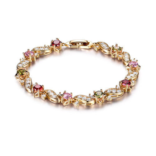 Gold-Color Bracelets Round Crystal Cubic zircon Shinning Lady Chain Bracelet