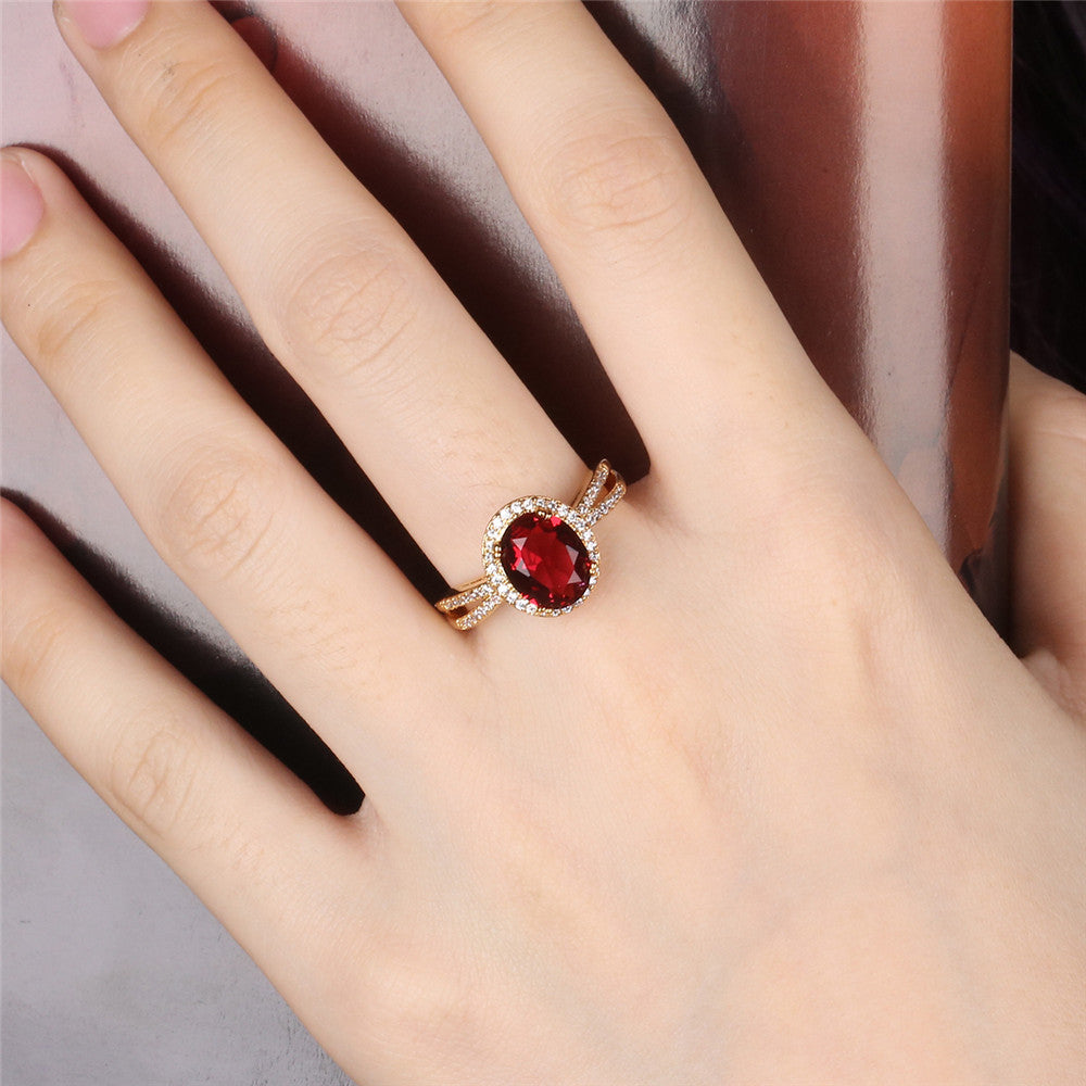 Round Red Gem Gold Ring