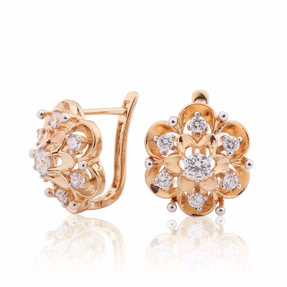 Gold AAA Zirconia Stones Earrings
