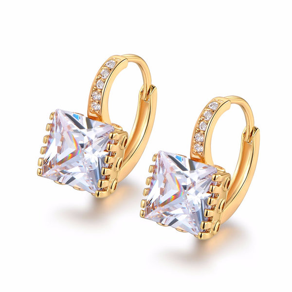 Gold Shiny Rhinestone Hoop Earrings