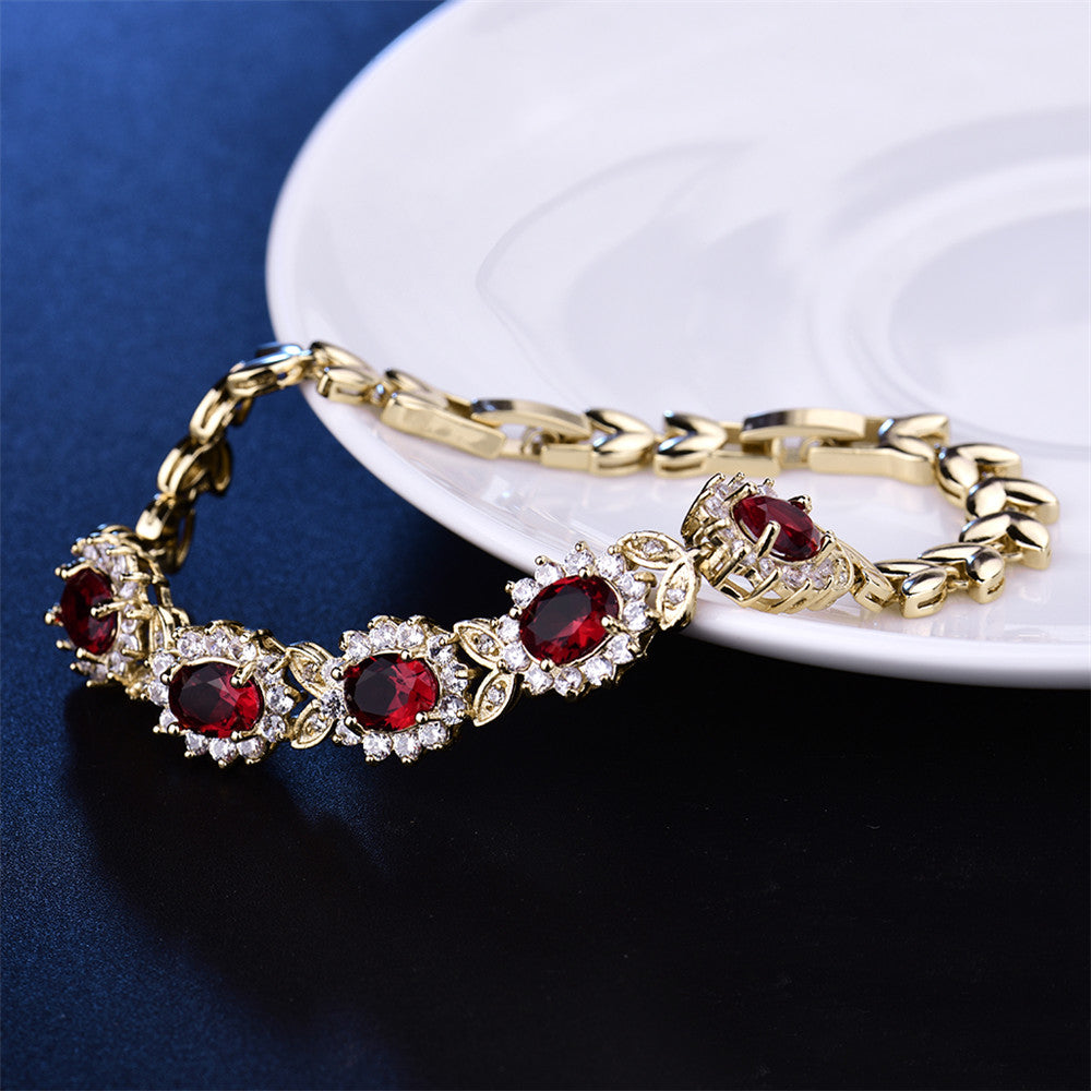 Gold-Color Bangle Red Crystal Cubic Zirconia