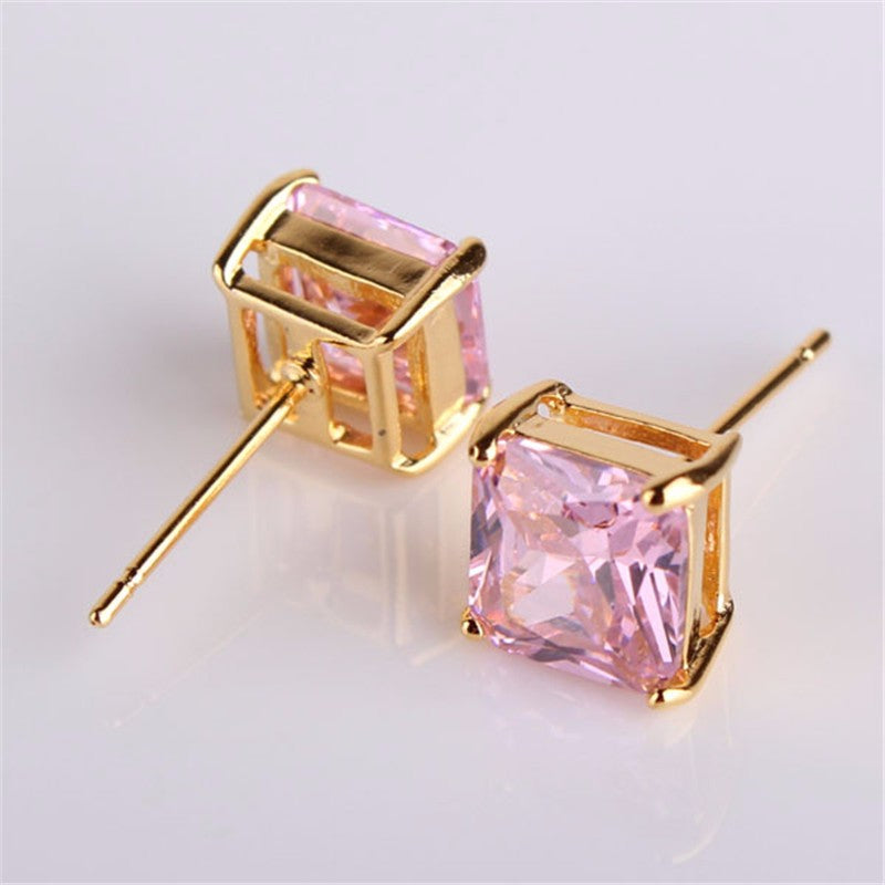 High Quality CZ Jewelry Earrings Gold-Color Stud Earing Cubic Zirconia Earings