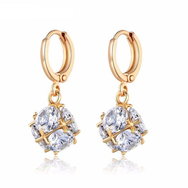 Diamond Cube Cubic Zirconia Earrings