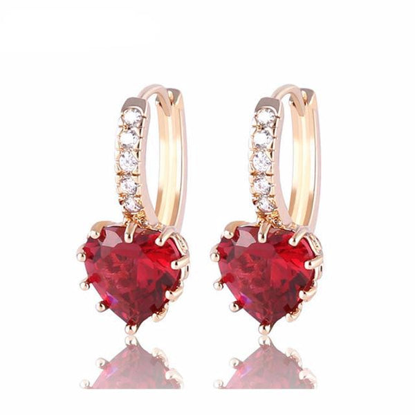 Gold-Color AAA Heart Zirconia Crystal Earring