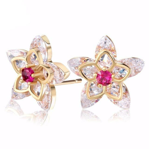 Gold-color Flower Zircon crystal Stud Earrings