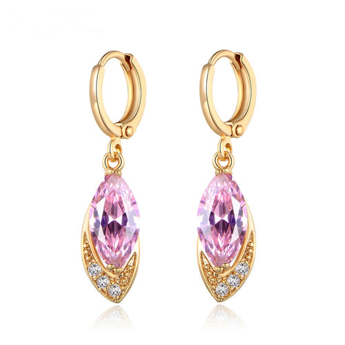 Fashion Party Cubic Zirconia Charming Earrings for Women Gold-Color Crystal Earring
