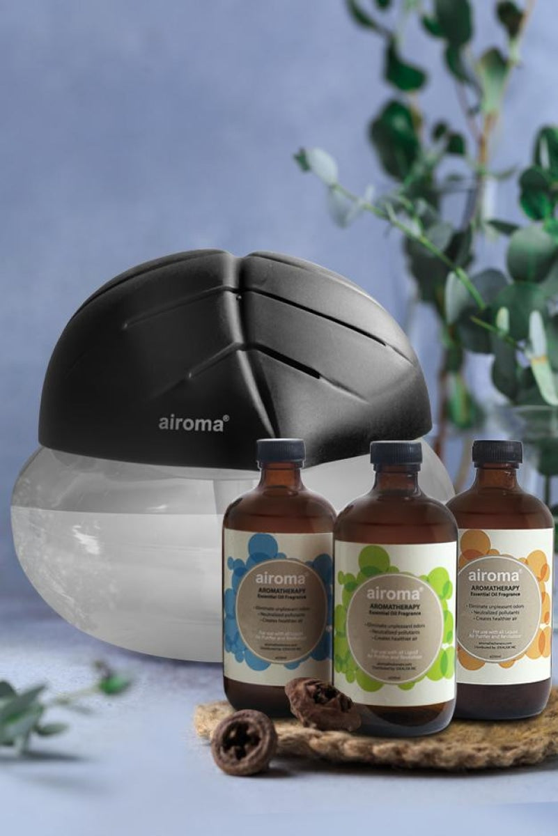 Buy 3 Airoma Essential Oils In 250Ml Get 1 Free Big Air Freshener Machine Black Purifier + Oil