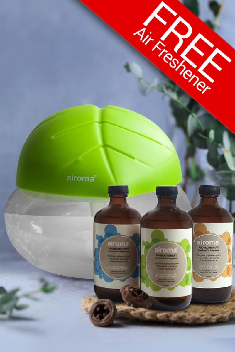 Buy 3 Airoma Essential Oils In 250Ml Get 1 Free Big Air Freshener Machine Lime Green Purifier + Oil
