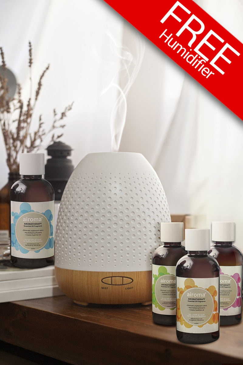 Buy 4 Airoma Essential Oils In 250Ml Get 1 Free Maril Humidifier Air Purifier + Oil Bundle
