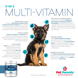 USA DOG MULTIVITAMIN 4G 90 COUNT- OMEGA 3 FOR DOGS + DOG GLUCOSAMINE CHONDROITIN FOR DOGS JOINT HEALTH + DOG PROBIOTICS + DOG IMMUNE SUPPORT, VITAMINS FOR DOGS & PUPPY VITAMINS