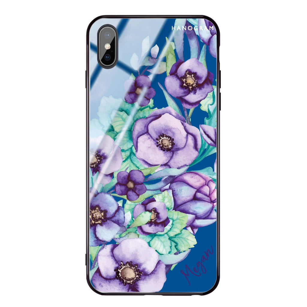 Purple Floral Il Princess Blue Glass Case