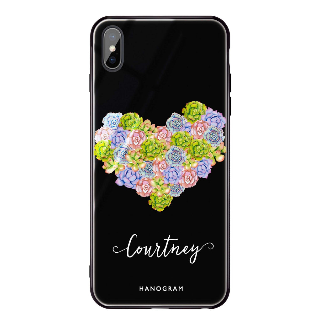 Floral Heart iPhone XS Max Glass Case