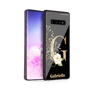 Golden Floral Monogram Samsung S10 Plus Glass Case