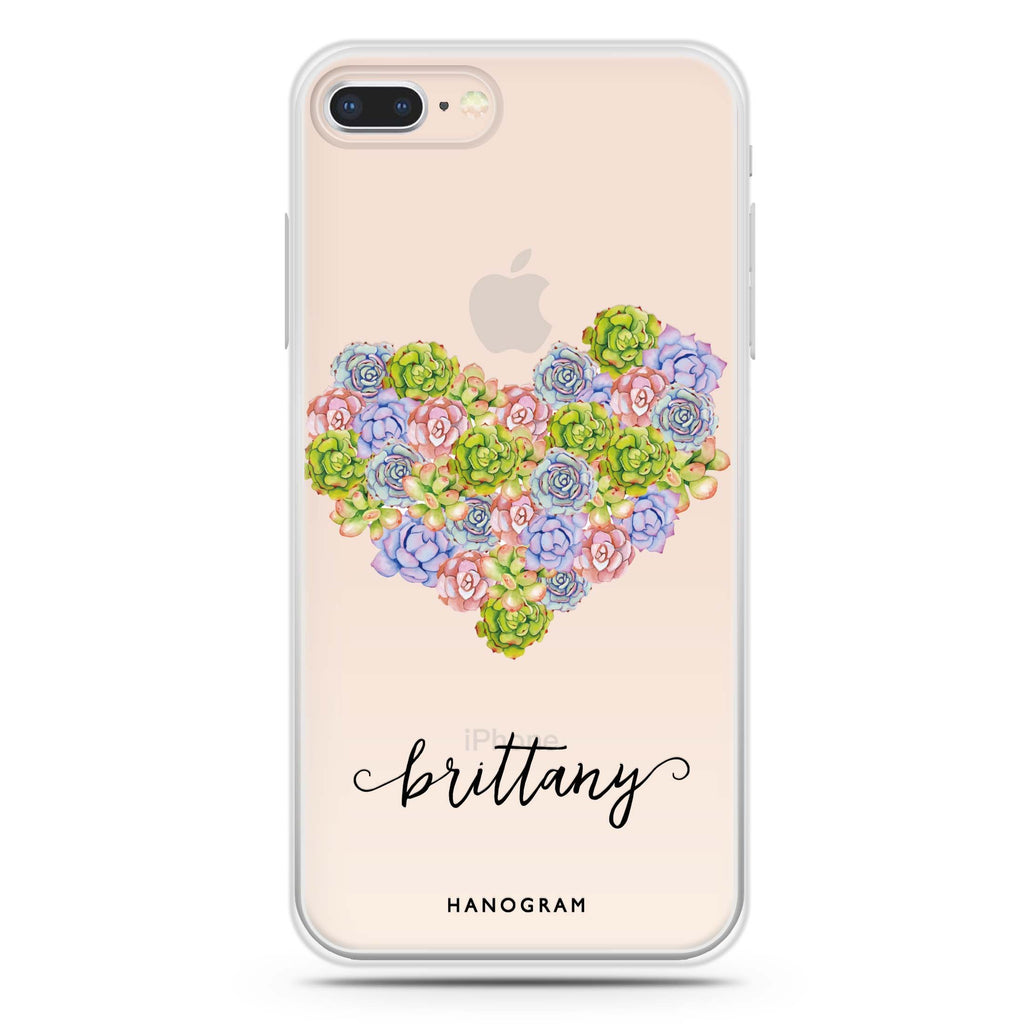 Floral Heart iPhone 7 Plus Soft Clear Case