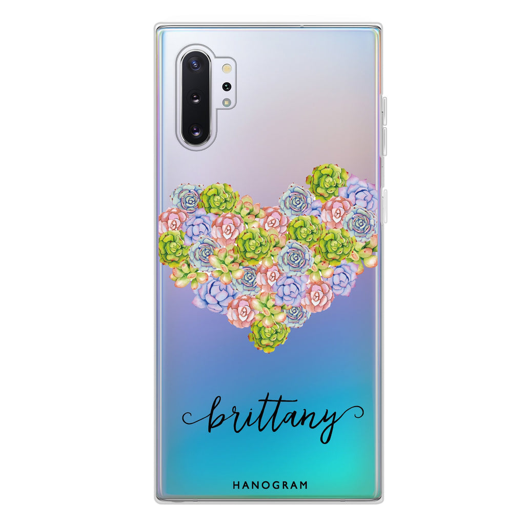 Floral Heart Samsung Note 10 Plus Soft Clear Case