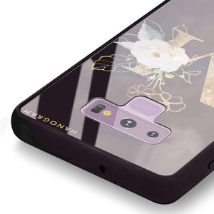 Golden Floral Monogram Samsung Note 9 Glass Case