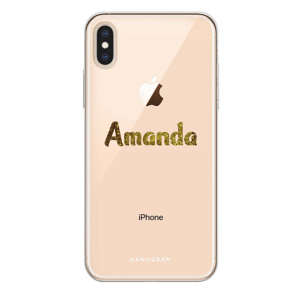 Glittering Gold iPhone XS Max Soft Clear Case