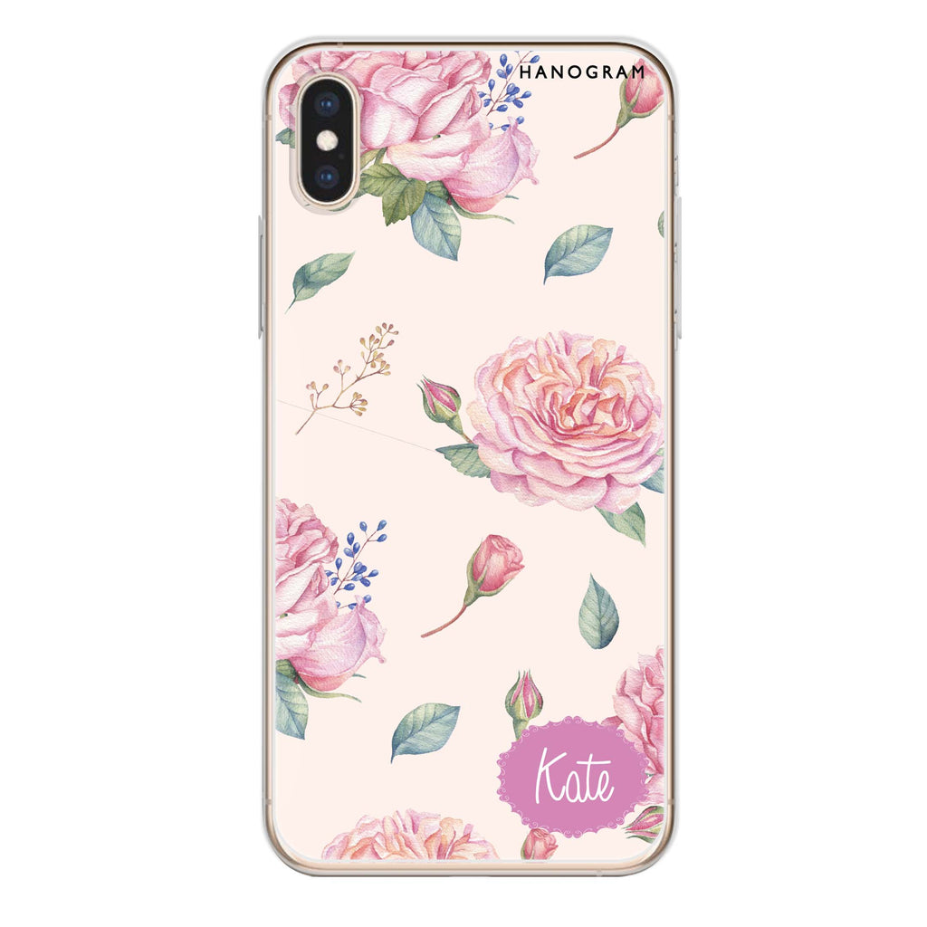 Pinky Flowers iPhone XS Max Soft Clear Case