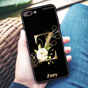 Golden Floral Monogram iPhone 8 Plus Glass Case