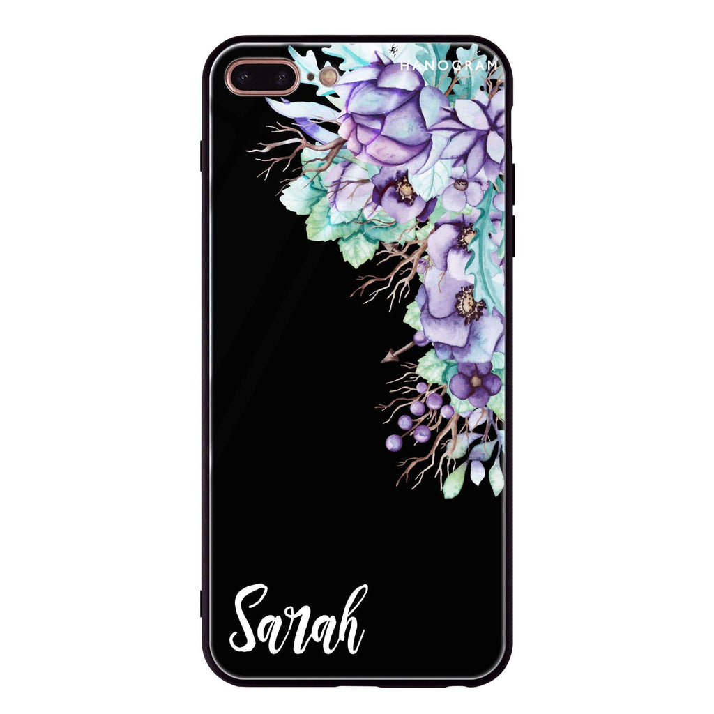 Purple Floral iPhone 8 Plus Glass Case