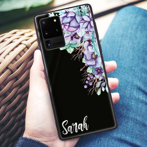 Purple Floral Samsung Glass Case