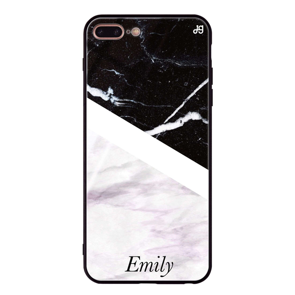 Black & White Marble iPhone 7 Plus Glass Case