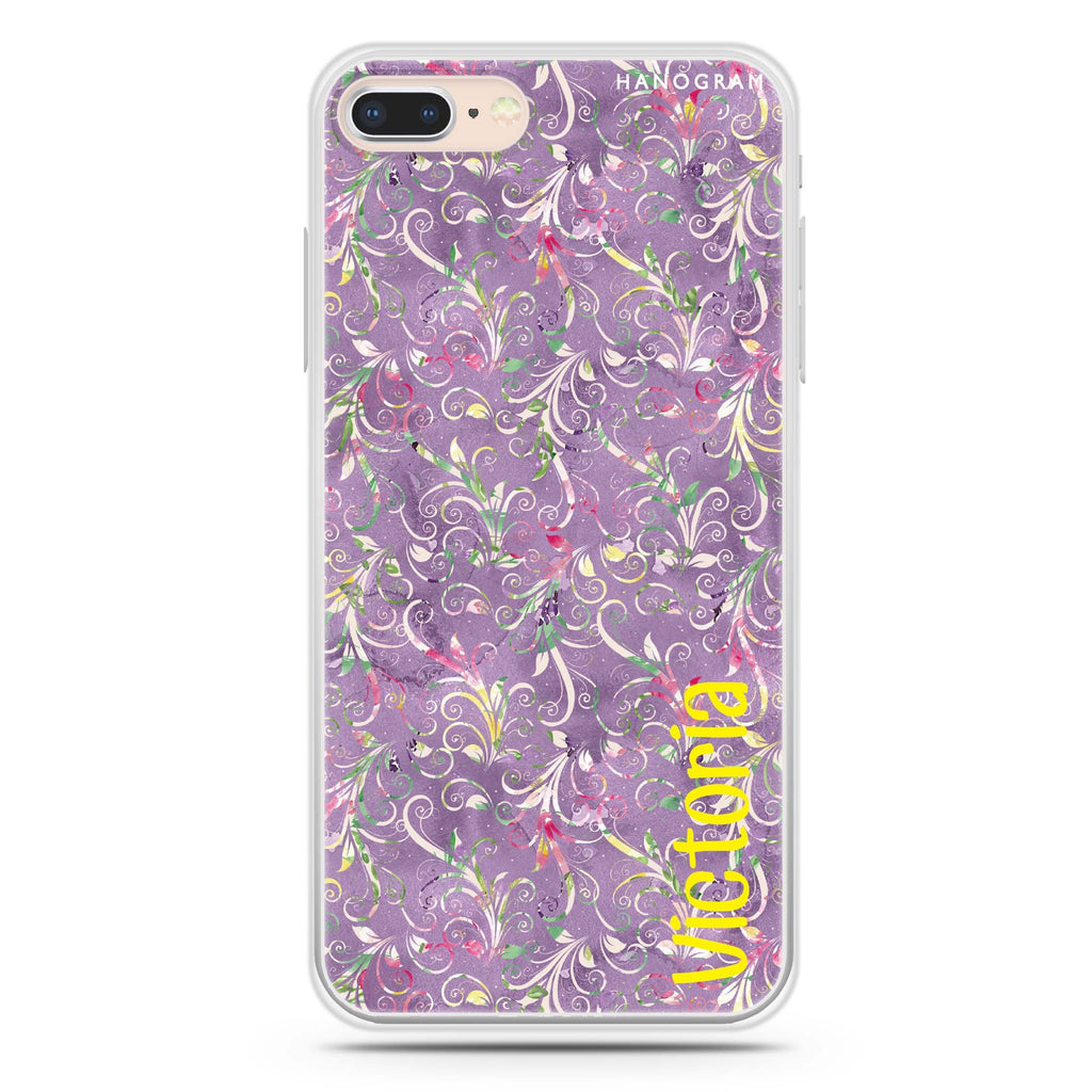 Curly Flowers iPhone 7 Plus Soft Clear Case