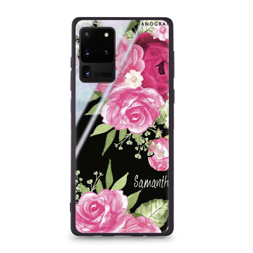 Watercolor Rose Samsung Glass Case