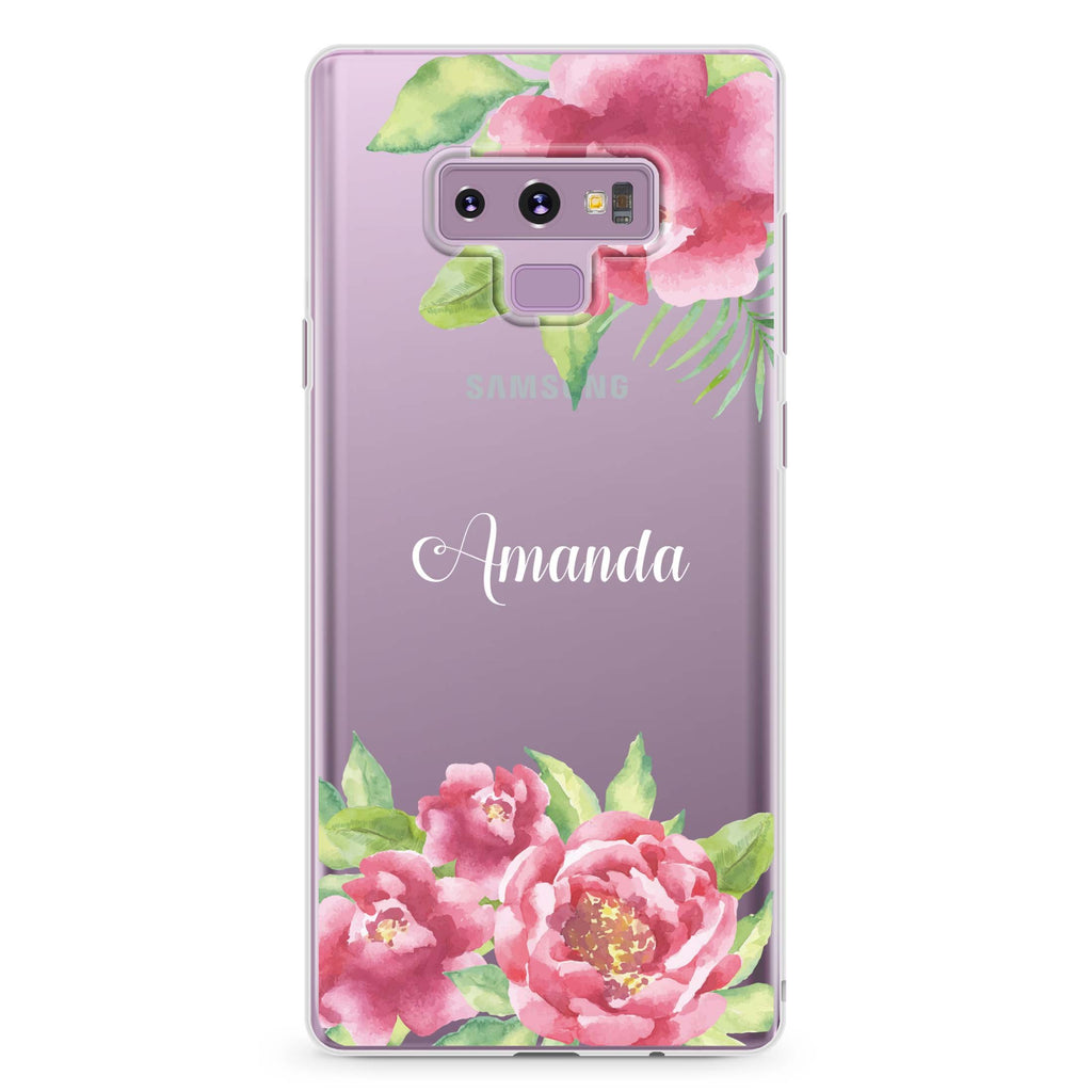 Watercolor Paeonia Samsung Note 9 Soft Clear Case
