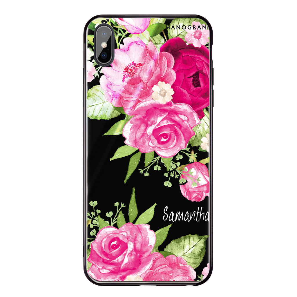 Watercolor Rose iPhone XS Max Glass Case