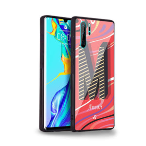 Glitched Monogram Huawei Glass Case