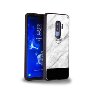White Marble Transparent Samsung S9 Plus Glass Case