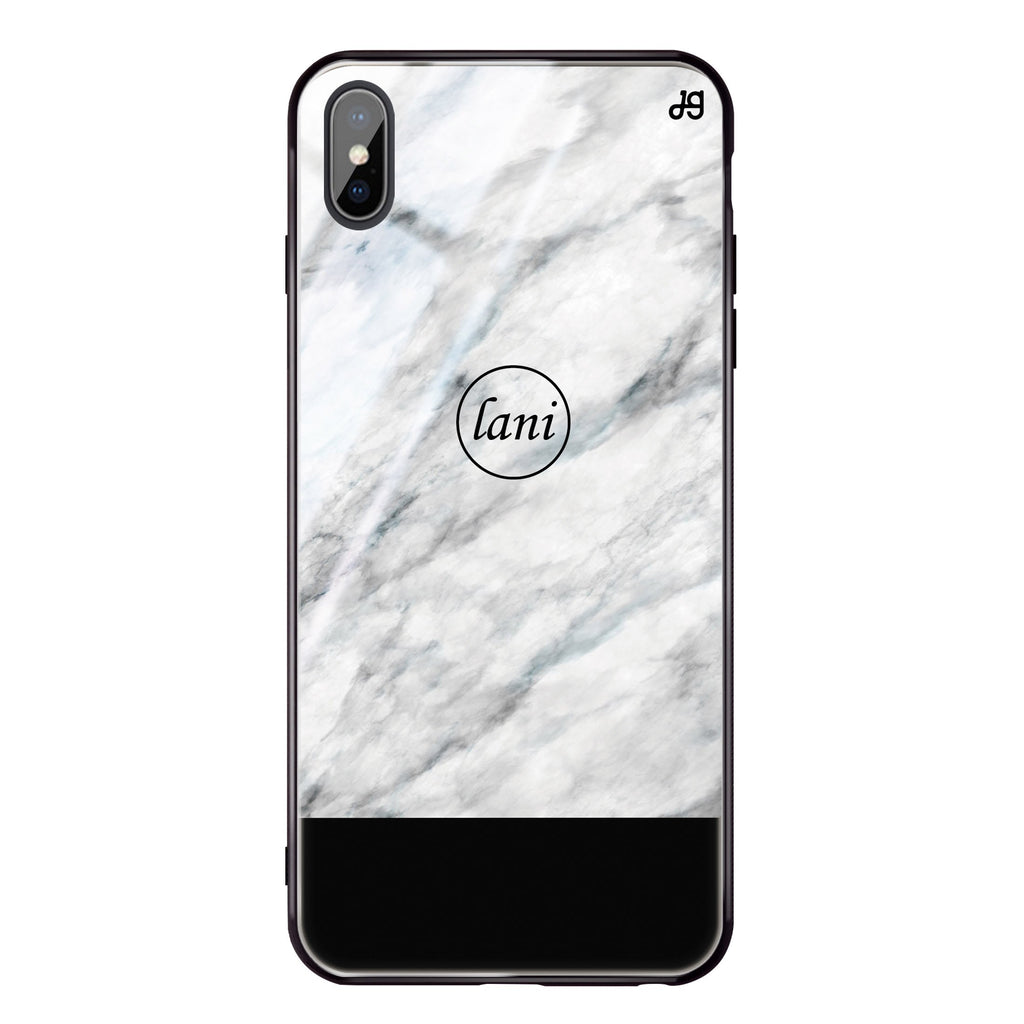 White Marble Transparent iPhone XS Max Glass Case