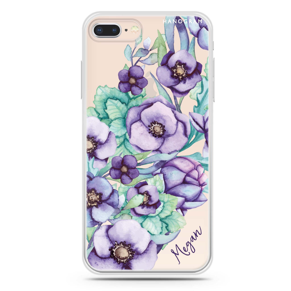 Purple Floral II iPhone 7 Plus Soft Clear Case