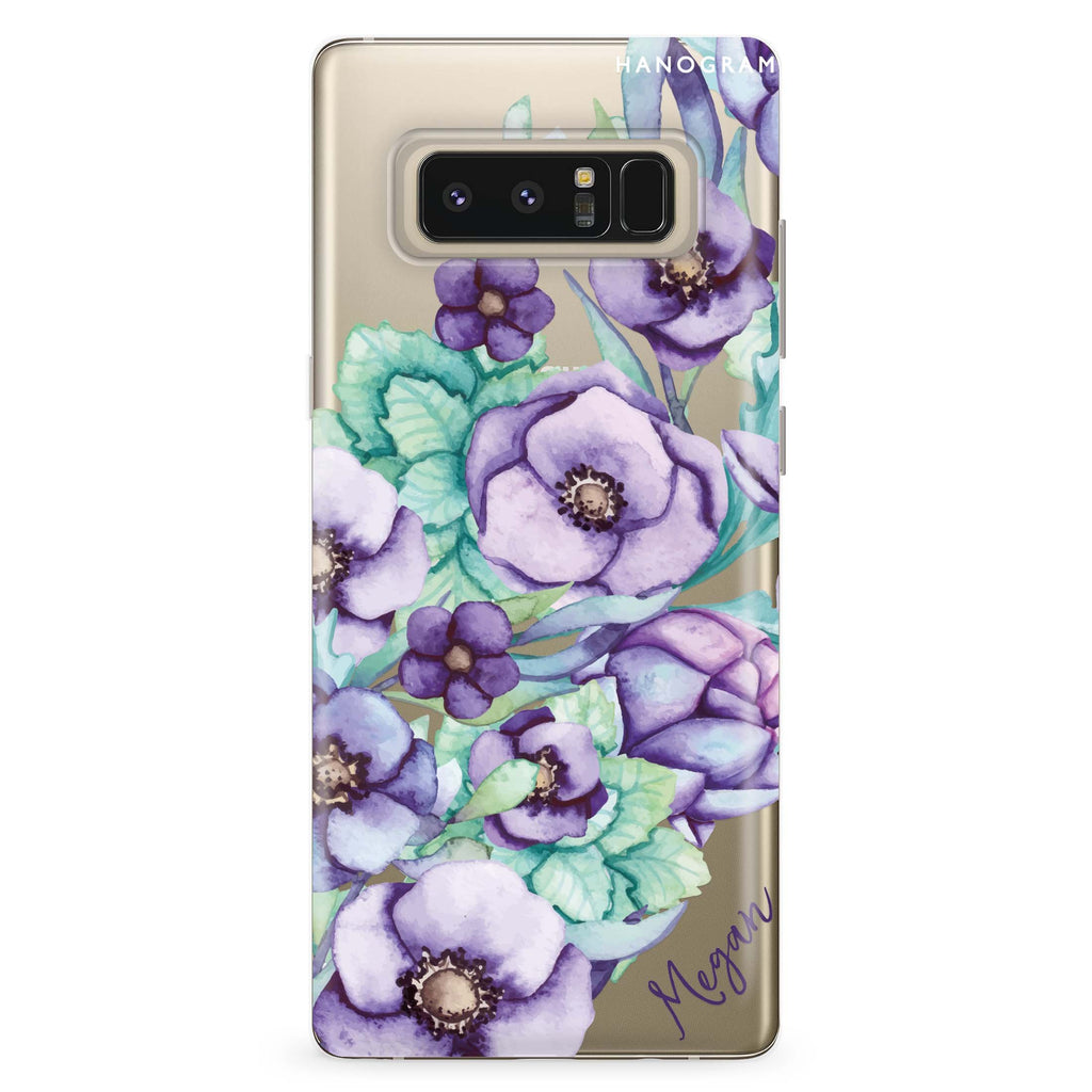 Purple Floral II Samsung Note 8 Soft Clear Case