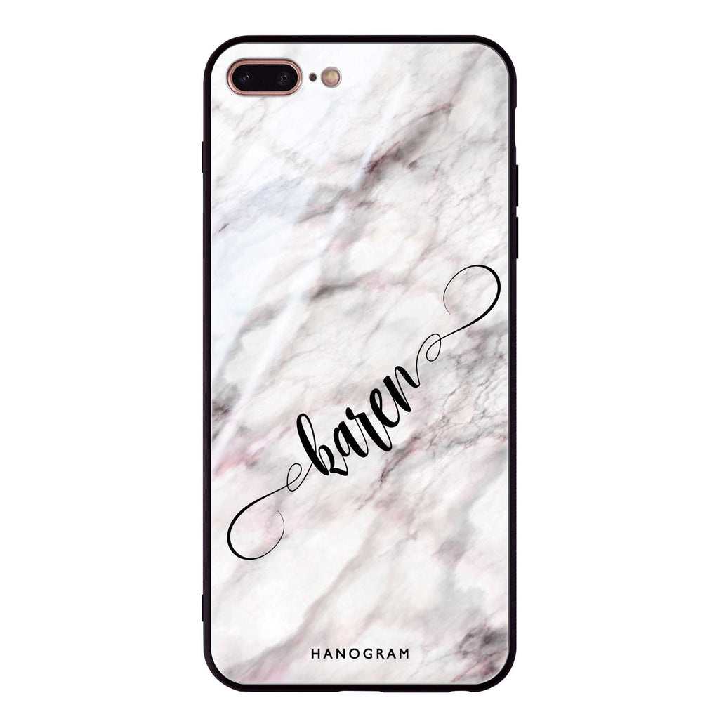 Cursive Name & Marble iPhone 8 Plus Glass Case