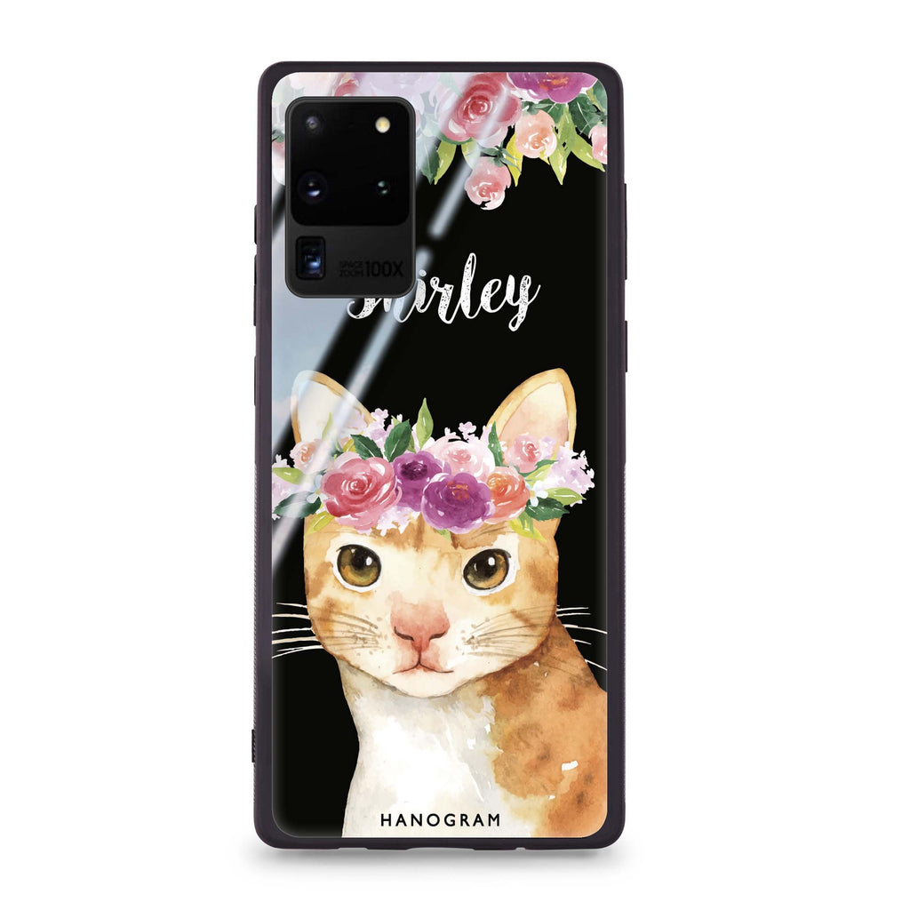 Floral and Cat Samsung Glass Case