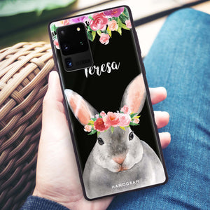 Floral and Bunny Samsung Glass Case