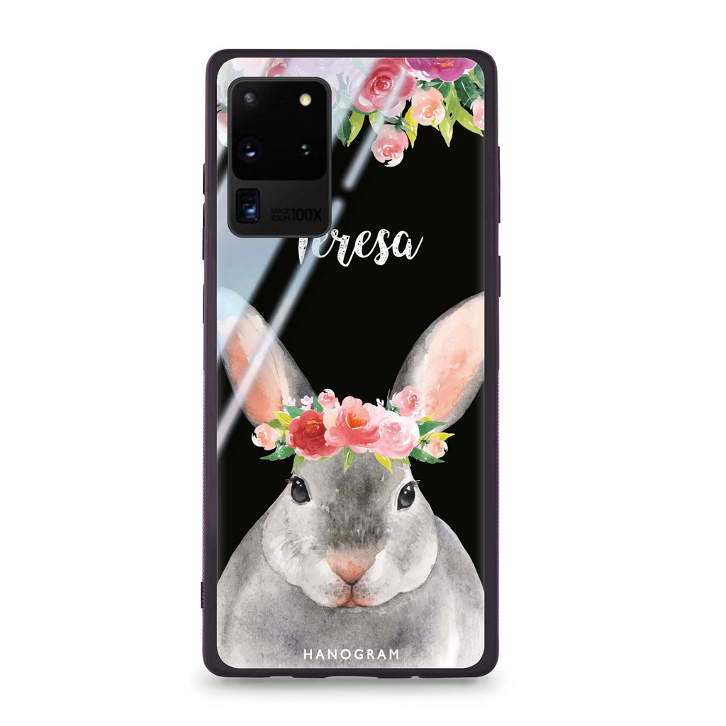 Floral and Bunny Samsung S20 Ultra Glass Case