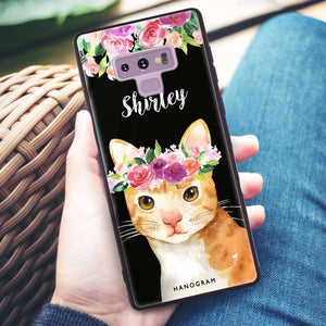 Floral and Cat Samsung Note 9 Glass Case