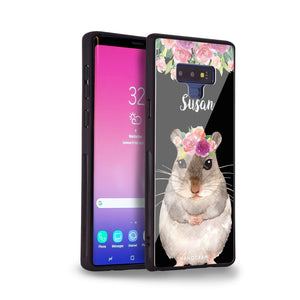 Floral and Hamster Samsung Note 9 Glass Case