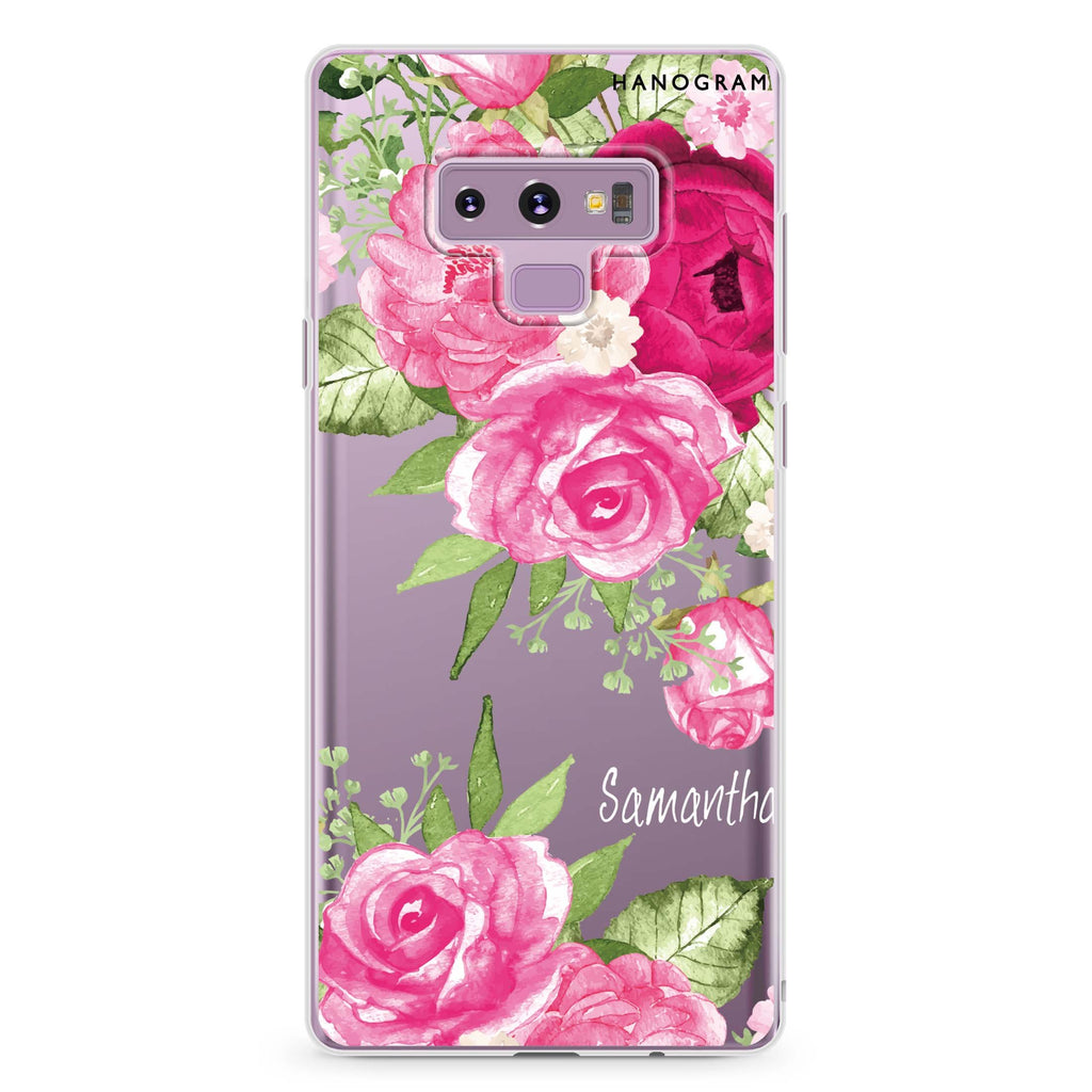 Watercolor Rose Samsung Note 9 Soft Clear Case